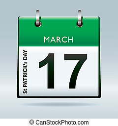 patricks, kalender, grønne, dag, st.