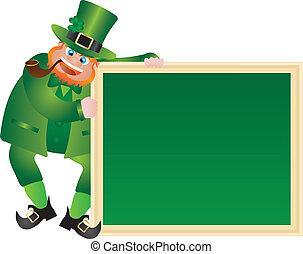 patricks, leprechaun, chalkboard, dag, st.