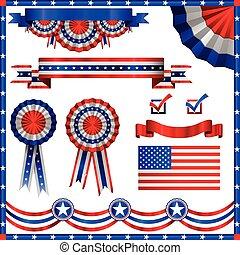 patriotiske, amerikaner, elementer