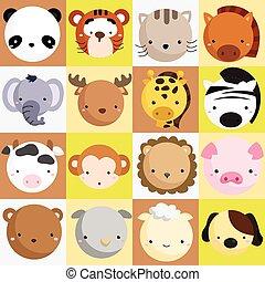 pattedyr, vektor, sæt, ikon