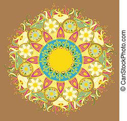 pattern., snørebånd, delicate, cirkel, omkring, ornamental