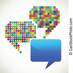 patterned, bobler, tale, farverig