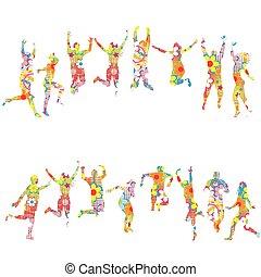 patterned, farverig, folk, silhuetter, springe, blomstrede