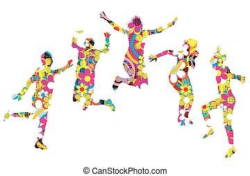 patterned, folk, unge, silhuetter, springe, blomstrede
