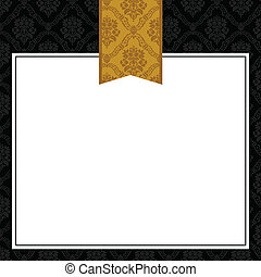 patterned, ramme, vektor, guld bånd
