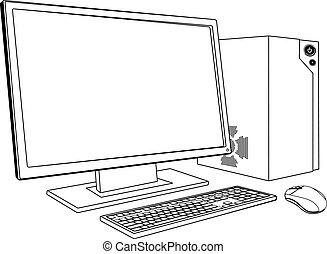 pc., arbejdsstationen, computer, desktop