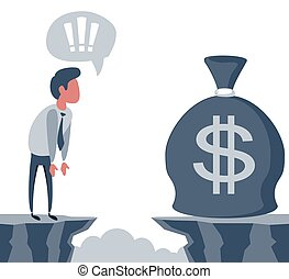 penge, illustration., mål, forretningsmand, forside, bag., vektor, achievement, concept., kigge, hul