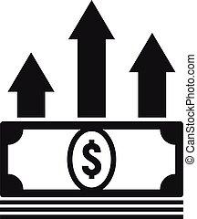 penge, indkassere, firmanavnet, enkel, lån, ikon