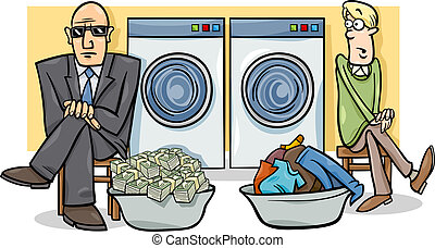 penge laundering, illustration, cartoon