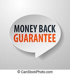 penge, tilbage, tale, baggrund, hvid, 3, boble, garanti