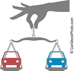 person, bestemmelse, køb, valg, bilerne