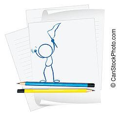 person, skitse, avis flag, holde