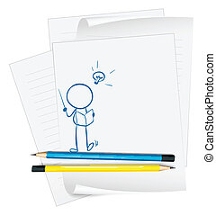person, skitse, avis, læsning