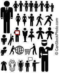 person, symbol, sæt, silhuet