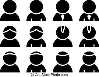 person, vektor, sort, iconerne