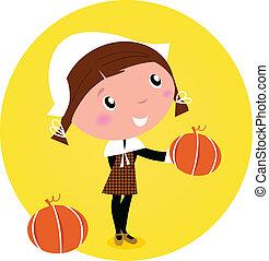 pige, /, anføreren, -, cute, isoleret, white., vektor, pumpkin, pilgrim, taksigelse, cartoon, illustration.