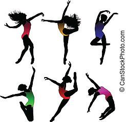 pige, ballet, silhuetter, sæt, dans