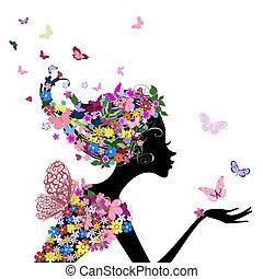 pige, blomster, sommerfugle