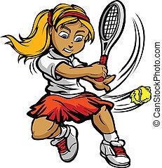 pige, bold, racquet, svinge, spiller, tennis, barnet