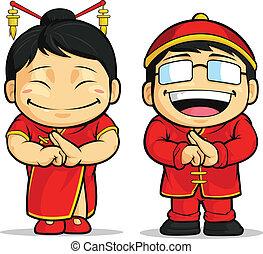 pige, cartoon, kinesisk, og, dreng