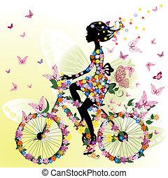 pige, cykel, stemningsfuld