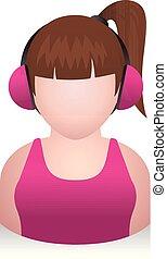 pige, folk, -, avatar, iconerne