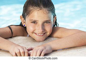 pige, glade, svømning, barn, pulje