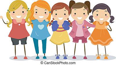 pige, gruppe