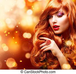 pige, hår mode, portrait., bølgede, gylden, rød