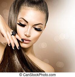 pige, hår mode, skønhed, model, brun, sunde, længe