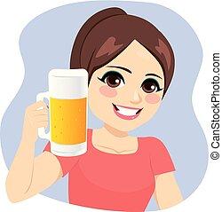 pige, kande, øl, holde, unge