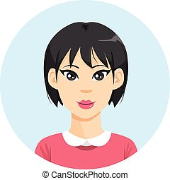 pige, kvinde, asiat, avatar