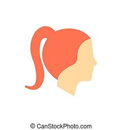 pige, kvinde, avatar, kvindelig, ikon