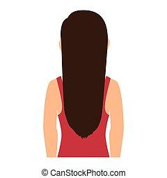 pige, kvinde, avatar, tilbage