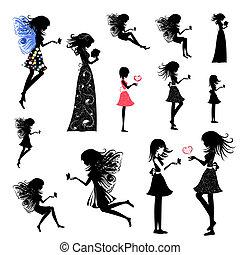 pige, sæt, fairy