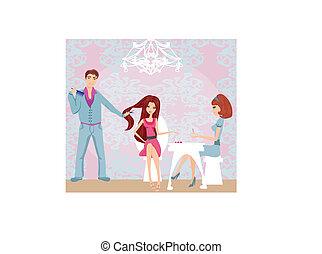 pige, skønhed, hairdresser, manicure, salon