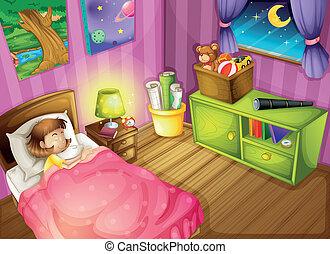pige, soveværelse