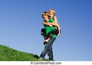 piggyback, sommer kids, glade