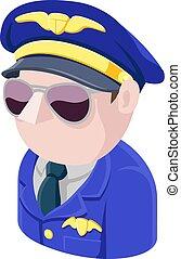 pilot, ikon, avatar, folk