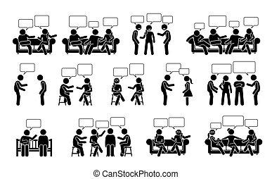 pind, folk, en anden, icons., pictogram, figur, kommunikation, konversation, æn