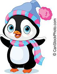 pingvin, vinter, cute