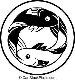pisces, zodiac underskriver, fisk ikon