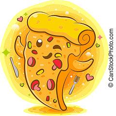 pizza, cartoon, kawaii, velsmagende, karakter