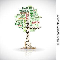plakat, abstrakt, økologi, -, træ