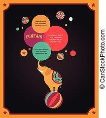 plakat, vinhøst, cirkus, tale, baggrund, elefant, bobler