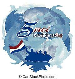 plakater, osv., vektor, maj, netherlands, ferie, stickers, national, bevrijdingsdag., baggrund, 5., bannere, baggrunde, illustration, abstrakt, cards, konstruktioner