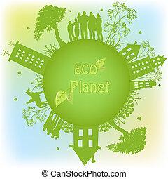 planet, økologiske, grønne