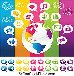 planet, farverig, jord, sociale, medier
