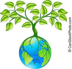 planet, klode, jord, træ