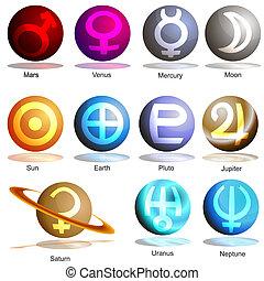 planet, symbol, sæt, 3